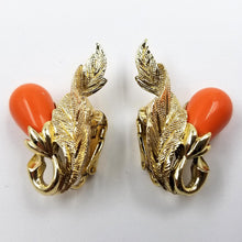 Sarah Coventry Gold Tone and Coral Colored Leaf and Berry Earrings