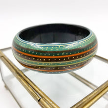 Modernist Boho Wide Bangle with Stripes of Color