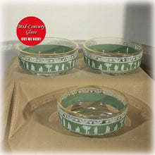 Jeannette Glass Green Hellenic Glass Nappy Bowls, Set of Three