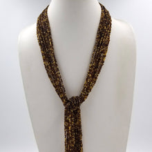 Long Multi Strand Brown Beaded Sautoir Necklace