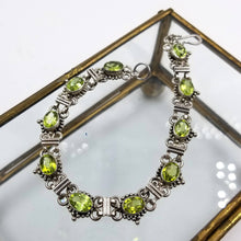 Natural Green Peridot and Silver Tennis Bracelet