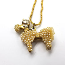 Poodle Dog Pendant Necklace / Gold Tone Vintage Figural