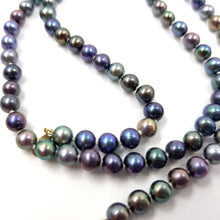 Iridescent Peacock Tahitan Black Freshwater Rope Pearl Necklace