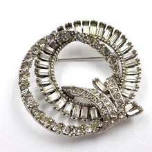Dimensional Baguette Rhinestone Double Circle Brooch