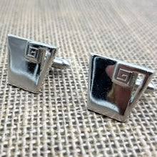 Swank Silvertone Trapazoid Cufflinks / Suit Accessories / Greek Key