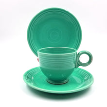 Early Turquoise Blue Fiestaware Cup Saucer and Bread Plate / Snack Plate