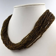 Translucent Brown Bead Multi Strand Torsade Necklace