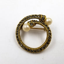 Smoked Gray Rhinestone and Pearl Circle Brooch