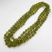 Green faceted bead double necklace