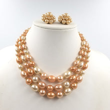 Salmon Pink and Cream Multi Strand Bead Necklace / Hong Kong