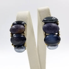 Shade of Blue Cabochon Half Hoop Earrings