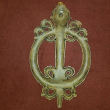 Gold Painted Iron Torch and Wreath Wall Plaque