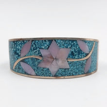 Alpaca Faux Turquoise and Inlaid Mother of Pearl Cuff Bracelet