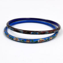 Set of Two Narrow Cloisonne Bangle Bracelents