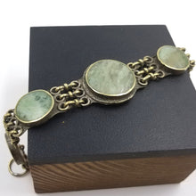 Brass and Green Stone Link Bracelet