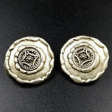 Silver Tone Medallion / Button Clip on Earrings