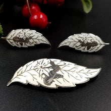 Siam Sterling Silver White Brooch and Earrings Jewelry Set, Thai Mythology Leaf Motif, Mekhala, Dancing Goddess, Fairy, Asian, Exotic