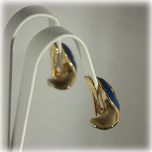 Sapphire Blue and Gold Clip On Earrings, Window Pane Enamel, Mid Century Vintage Earrings