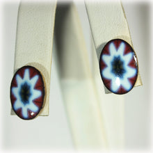 Red and Blue Ceramic Pierced Button Earrings