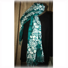 Cotton Scarf, Fashion Scarves, Green White Scarf, Flowered Scarf, Large Teal and White Scarf, Fashion Accessory
