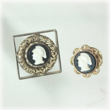 Roman Warrior Black and White Cameo, Gold tone Joseph Vastano, Tie Tack and Cuff Links Set