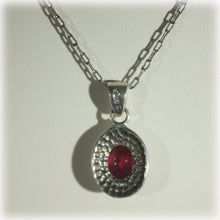 Minimalist Ruby and Sterling Silver Pendant Necklace