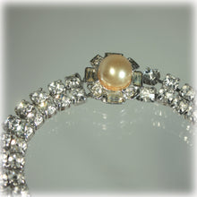 Double Row Rhinestone Bracelet, Pearl Accent Clasp, White Crystal, Wedding, Bridal Jewelry, Formal Wear