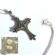 Sterling Silver and Marcasite Cross Pendant Necklace, Antique Style