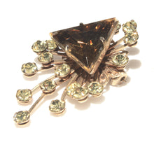 Smokey Quartz, Topaz Crystal, Rhinestone Crystal Brooch, Pale Green Starburst, Mid Century, Lapel Pin