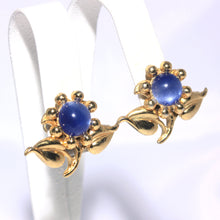 Coro Blue Moon Glow Flower Earrings, Gold Gilt Petite Earrings, 1940s Jewelry, Designer