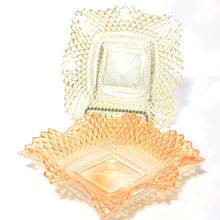 Set of 2 Indiana Glass Diamond Point Candy Bowls or Nut Dishes, Square with Ruffled Edge in Orange / Tangerine and Soft Yellow