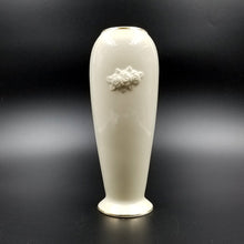 Tall Cream Colored Lenox Porcelain Vase / Embossed with Flowers