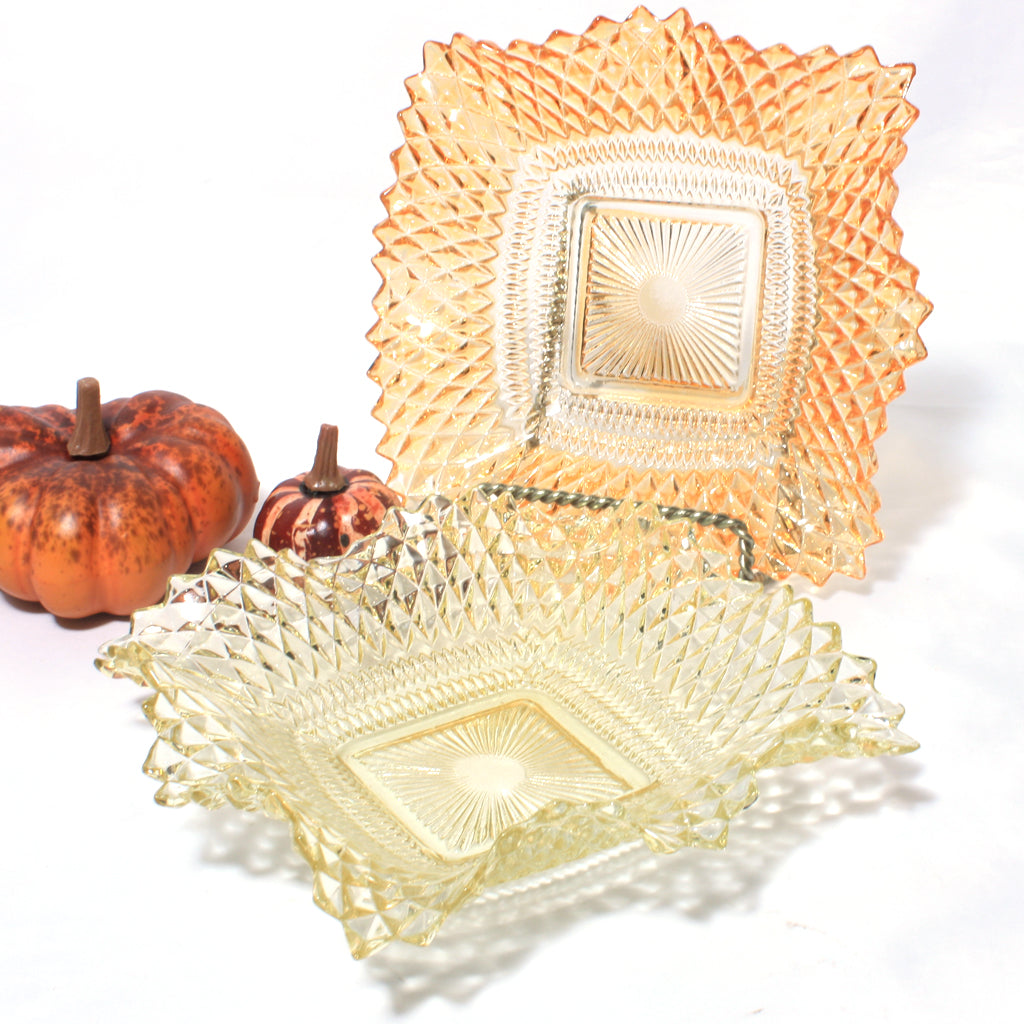 indiana glass diamond point square candy dish bowl orange yellow