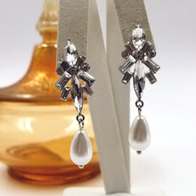 Baguette Crystal and Teardrop Pearl Pierced Earrings