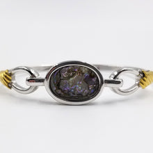 Mixed Metal Gold and Silver Tone Abalone Bangle Bracelet
