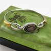 abalone mixed metal bangle