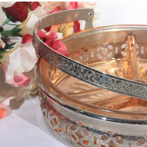Pink 3 Part Relish Dish Silver Basket