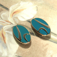 Modernist Turquoise and Gold Large oval Clip on Earrings, Modern Abstract Earrings