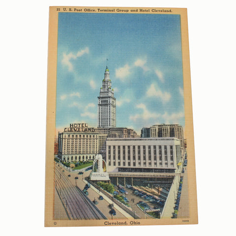 US post office terminal group hotel cleveland ohio postcard
