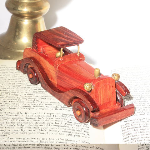 vintage retro handmade wooden toy car