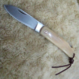 Bone Handle Folding Knife w/ leather sheath