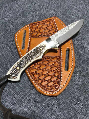Axis Antler Horn Handle Fixed Blade Hunting Knife with ball bearing steel blade (52100 steel)