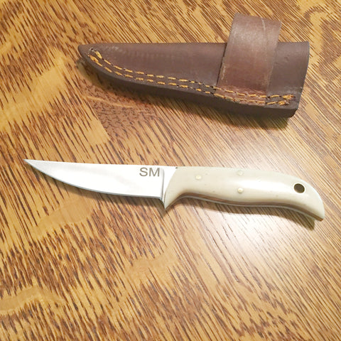 Camel Bone 420hc steel  Knife / Cross Draw leather sheath