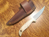 Bone 420hc steel  Knife / Cross Draw leather sheath