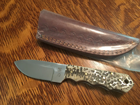 Turtle Shell Handle Wide Blade hunting  Knife