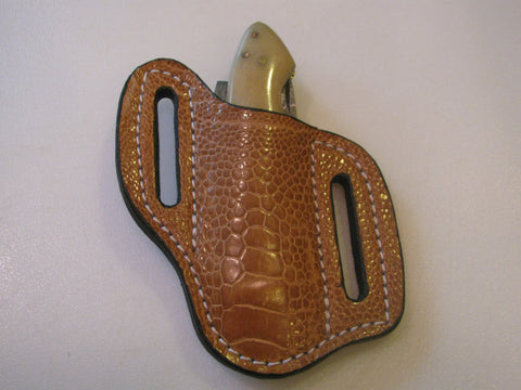 Ostrich Leg Pancake Knife Sheath