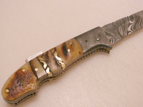 RAM HORN FOLDING KNIFE (PIN BUTTON LOCK)