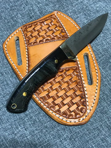 Black Buck Horn Handle Fixed Blade Hunting Knife with ball bearing steel blade (52100 steel)