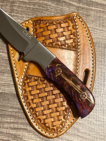 PINE CONE HANDLE D2 STEEL FIXED BLADE KNIFE