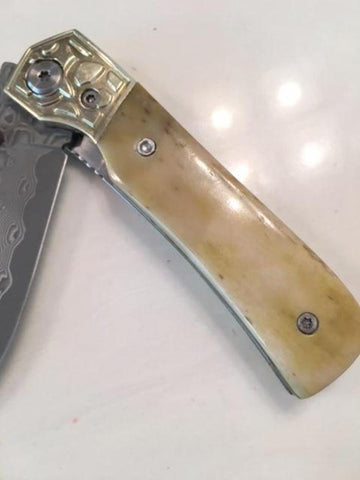 Bone Handle Folding Knife   pocket sized